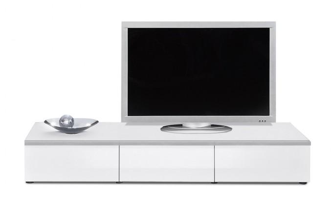 TV, Hifi stolek  - dřevěný Linea - TV prvek se zásuvkami (bílá/bílá lak HG/stříbrná)