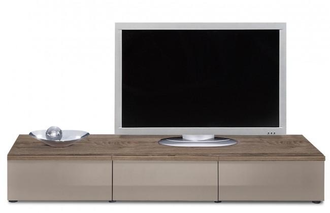 TV, Hifi stolek  - dřevěný Linea - TV prvek se zásuvkami (dub tmavý/šedý kám.lak/dub tmavý)
