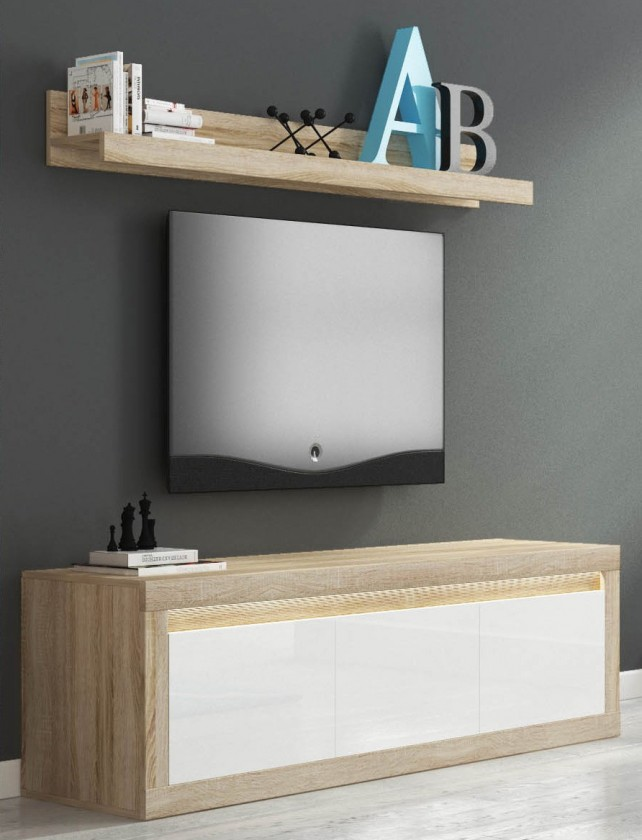 TV, Hifi stolek  - dřevěný Lino II - TV komoda, závěsná police, LED (sonoma/bílá lesk)