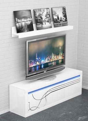 TV, Hifi stolek  - dřevěný Lino - Nízká TV komoda, závěsná police, LED osvětlení (bílá)