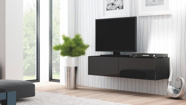 TV, Hifi stolek  - dřevěný Livo - TV stolek 160 závěsný (černá mat/černá lesk)