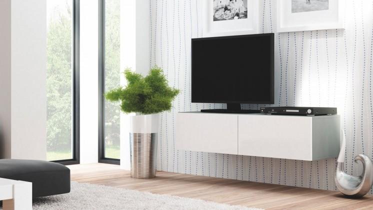 TV, Hifi stolek  - dřevěný Livo - TV stolek 160 závěsný (šedá mat/bílá lesk)