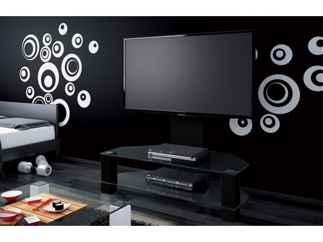 TV, Hifi stolek  - dřevěný Lugano - TV stolek s držákem (černá vysoký lesk/sklo číré)