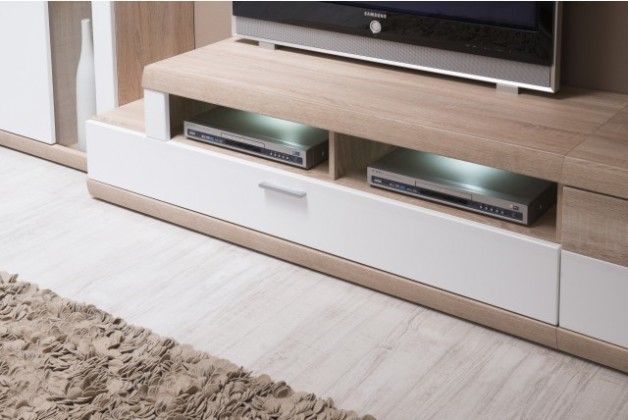 TV, Hifi stolek  - dřevěný Madelia TYP 31 (dub bardolino LDTD/bílá arctic vysoký lesk MDF)