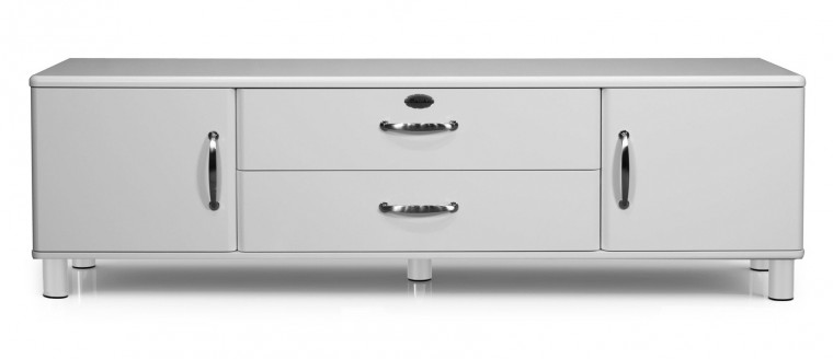 TV, Hifi stolek  - dřevěný Malibu - TV stolek (bílá, 2x dveře, 1x zásuvka,1x sklopné dveře)