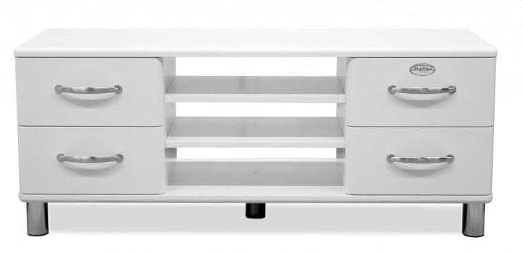 TV, Hifi stolek  - dřevěný Malibu - TV stolek (bílá, 4x zásuvka, 2x police)