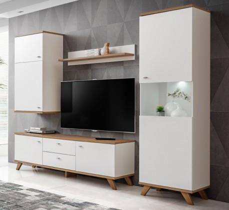 TV, Hifi stolek  - dřevěný Obývací stěna Vinie (bílý mat/dub riviera horní deska a podnoží)