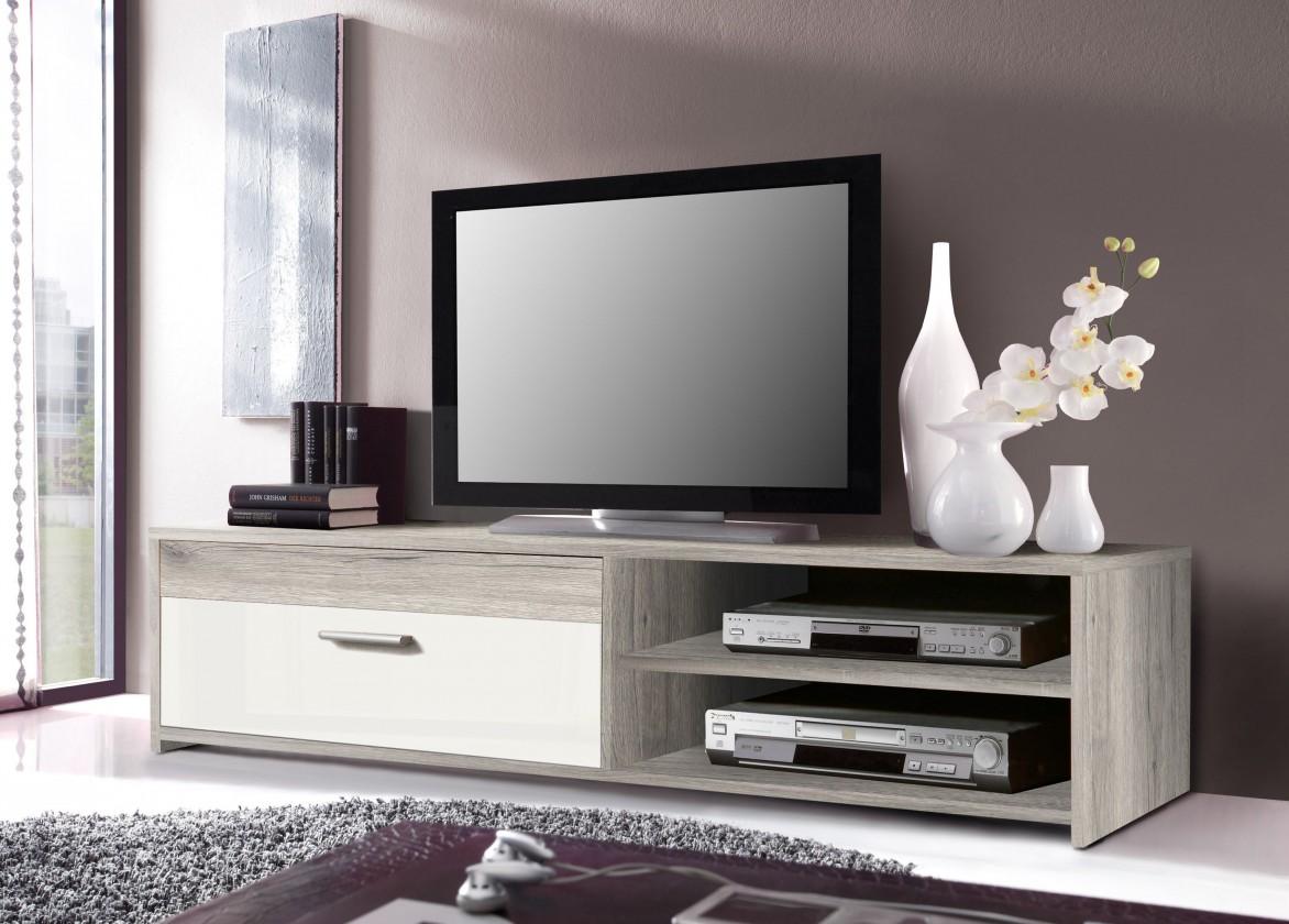 TV, Hifi stolek  - dřevěný Paco PCOT11-P75F (dub pískový/bílá)