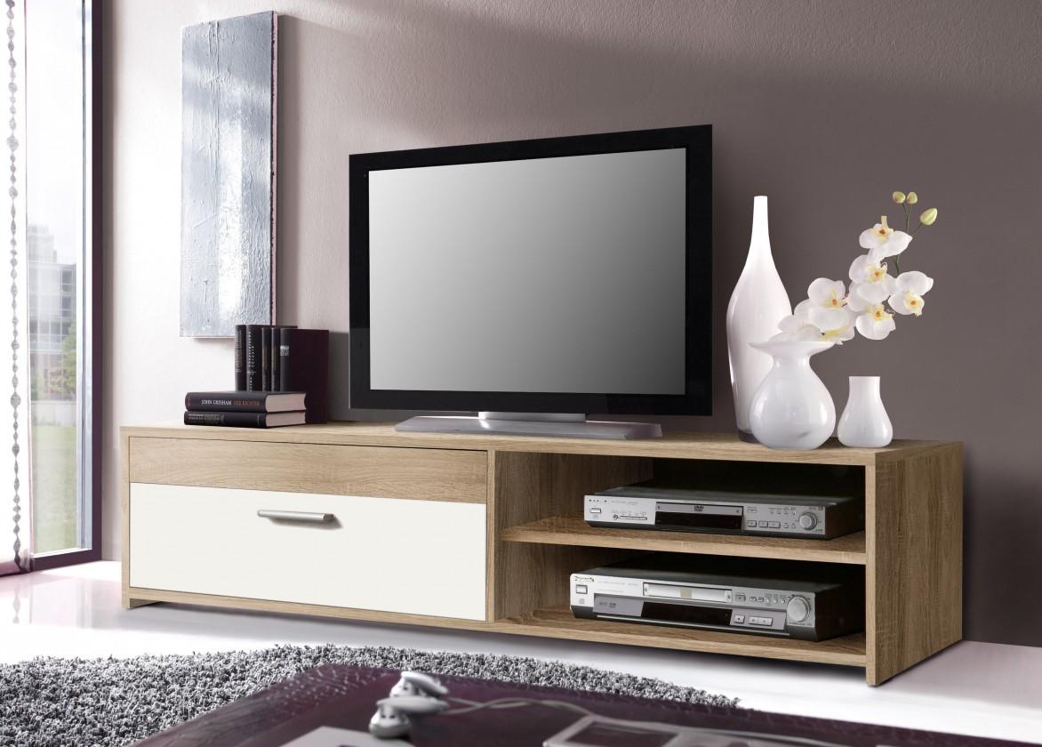 TV, Hifi stolek  - dřevěný Paco PCOT11-Q45F(dub sonoma/bílá)