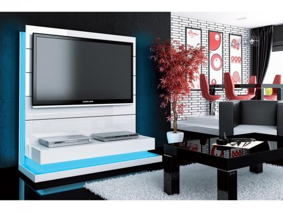 TV, Hifi stolek  - dřevěný Panorama lux - TV stolek s držákem (bílá vysoký lesk)