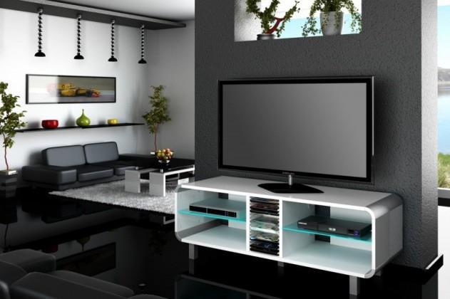 TV, Hifi stolek  - dřevěný Primus - TV stolek (bílá vysoký lesk)