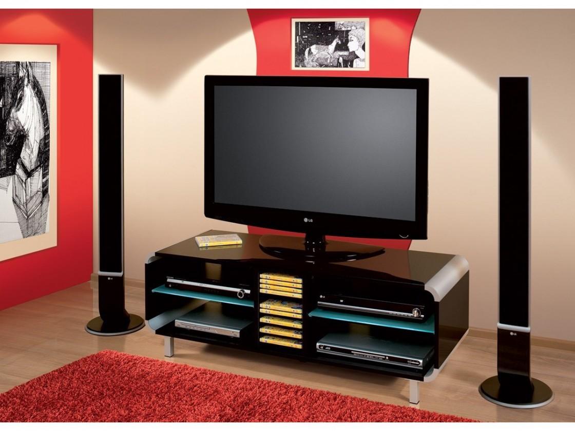 TV, Hifi stolek  - dřevěný Primus - TV stolek (černá vysoký lesk)