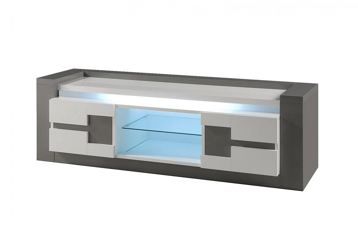 TV, Hifi stolek  - dřevěný Rimini - TV stolek (tmavě šedá/šedá)
