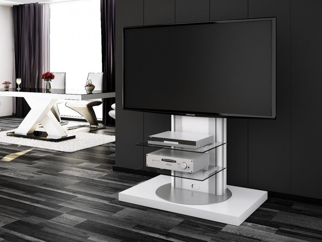 TV, Hifi stolek  - dřevěný Roma - TV stolek s držákem (bílá vysoký lesk)
