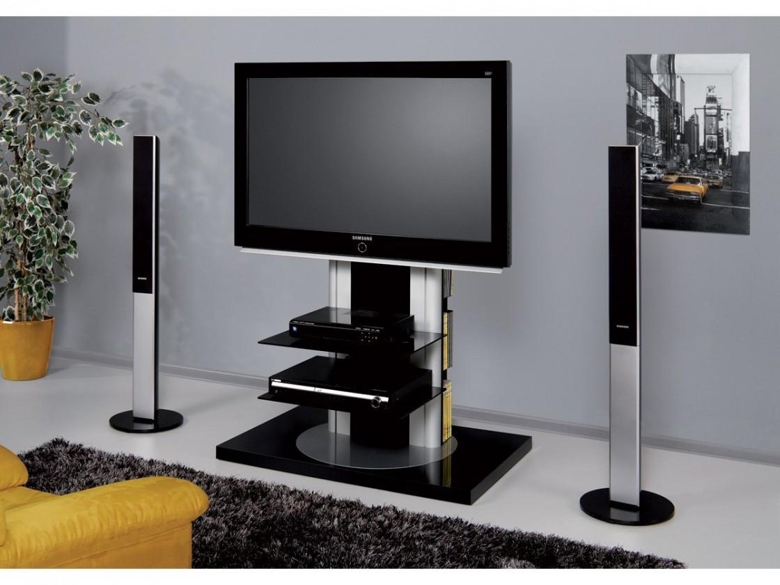TV, Hifi stolek  - dřevěný Roma - TV stolek s držákem (černá vysoký lesk)