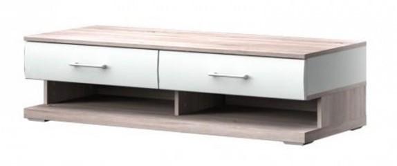 TV, Hifi stolek  - dřevěný Run Typ 10 (Bílá Arctic/Bílá Arctic VL/Dub Bardolino)