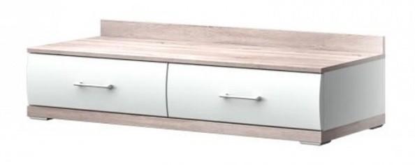 TV, Hifi stolek  - dřevěný Run Typ 14 (Bílá Arctic/Bílá Arctic VL/Dub Bardolino)
