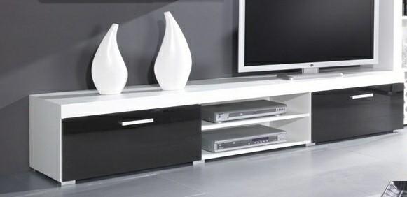 TV, Hifi stolek  - dřevěný Samba (Bílá/černá)