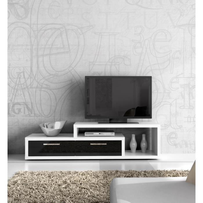 TV, Hifi stolek  - dřevěný Shine SHNT02-V51(bílá/černá lesk)