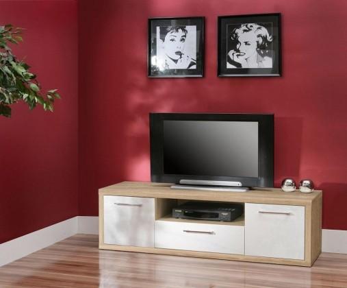 TV, Hifi stolek  - dřevěný Shine SHNT17 (Dub Sonoma/Bílá VL)