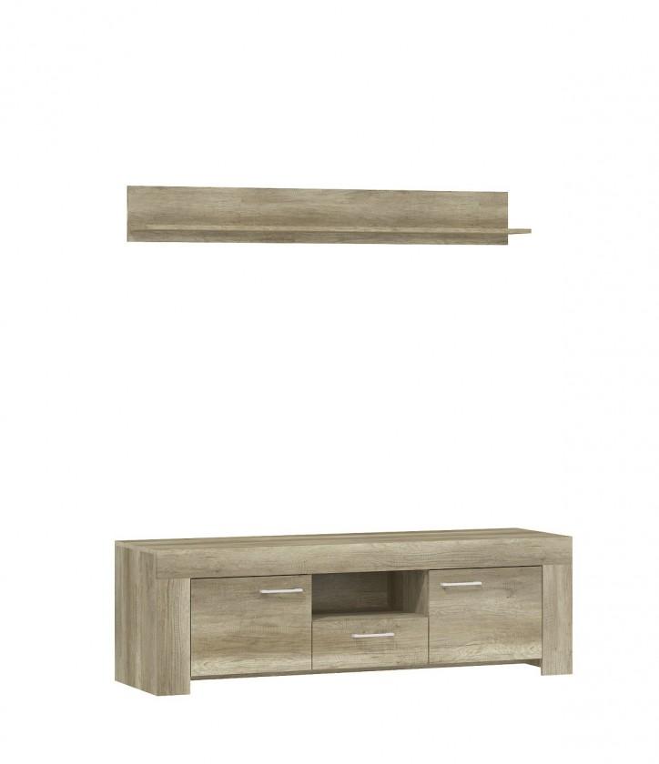 TV, Hifi stolek  - dřevěný Sky - RTV stolek, 1x police, ABS (country šedá)