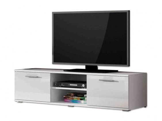 TV, Hifi stolek  - dřevěný Soho - TV komoda (bílý mat / bílá lesk, RTV '140')