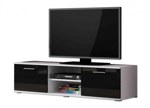 TV, Hifi stolek  - dřevěný Soho - TV komoda (bílý mat / černá lesk, RTV '140')