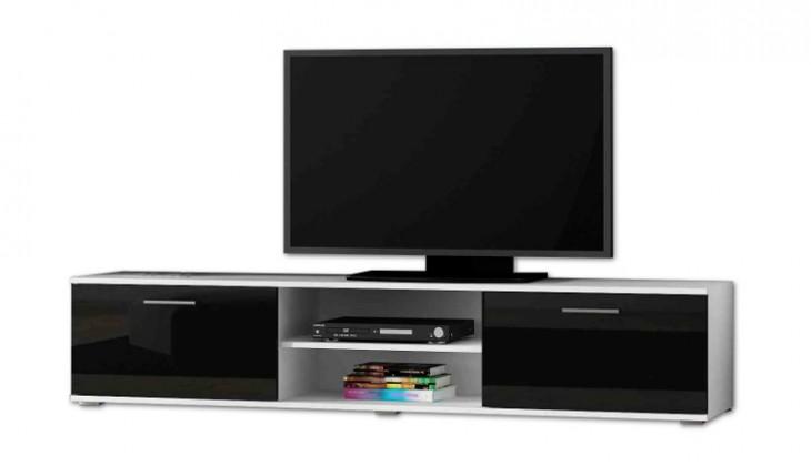 TV, Hifi stolek  - dřevěný Soho - TV komoda (bílý mat / černá lesk, RTV '180')