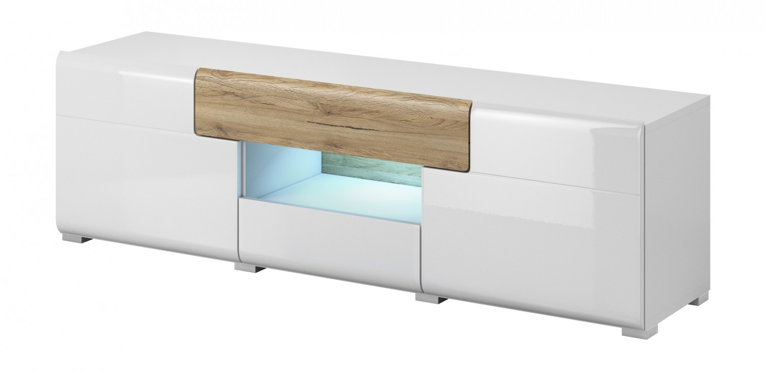 TV, Hifi stolek  - dřevěný Toledo - TV stolek malý (bílá, dub san remo)