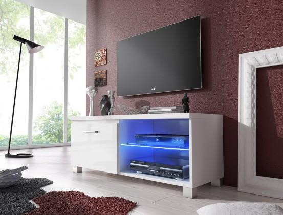 TV, Hifi stolek  - dřevěný TV 1 - TV stolek (bílá/bílá)