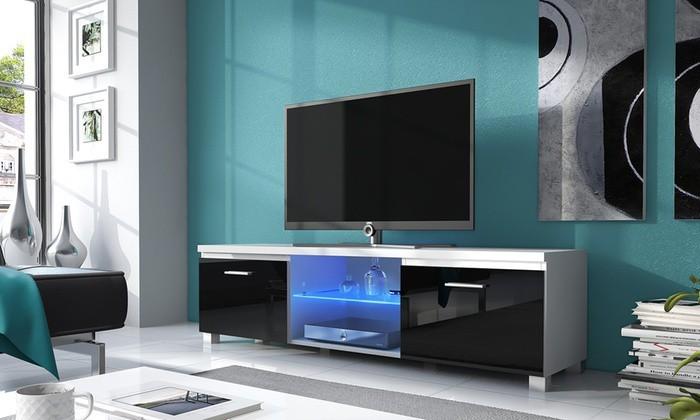 TV, Hifi stolek  - dřevěný TV 2 - TV stolek (bílá/černá)