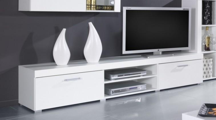TV, Hifi stolek  - dřevěný TV Skříň Samba (Bílá/ bílá vysoký lesk)