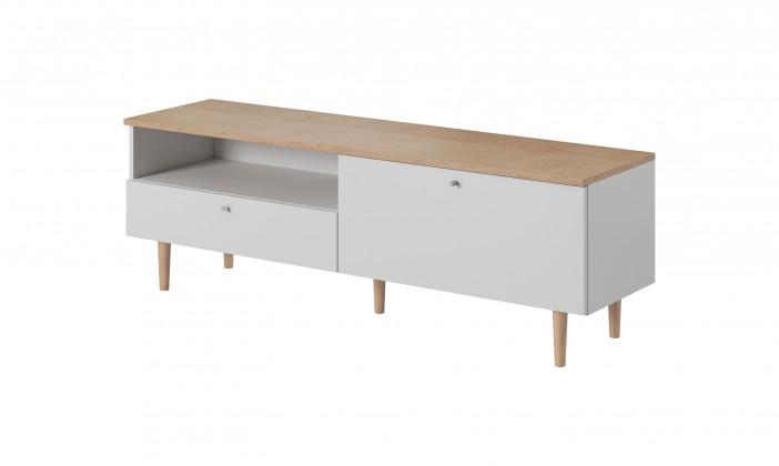 TV, Hifi stolek  - dřevěný TV stolek Loveli (buk pískový, bílá)