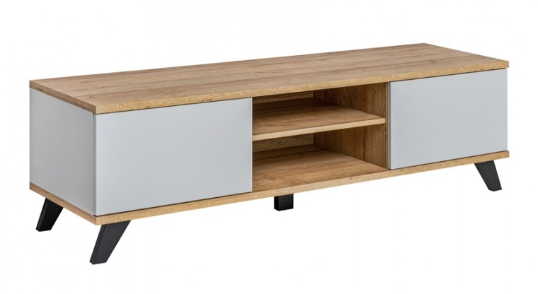 TV, Hifi stolek  - dřevěný TV stolek Sevalda (riviera, perla gray)