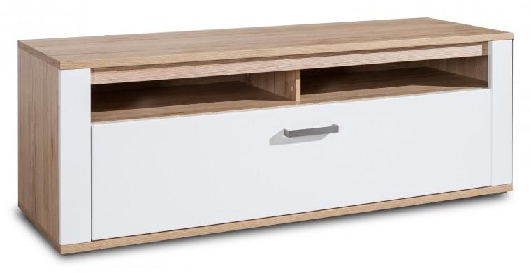 TV, Hifi stolek  - dřevěný Varino Typ 31 (san remo sand LDTD/bílá arctic vysoký lesk MDF)
