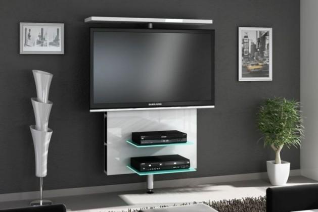 TV, Hifi stolek  - dřevěný Vario - TV stolek (bílá vysoký lesk)