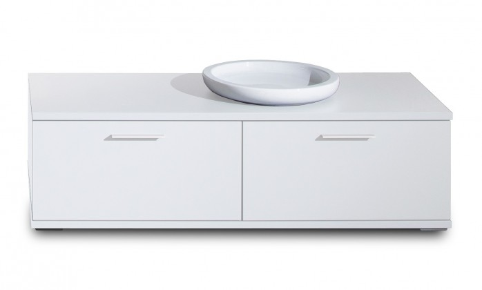 TV, Hifi stolek  - dřevěný Veto - Typ 35 (bílá arctic/bílá vysoký lesk/dub san remo sand)