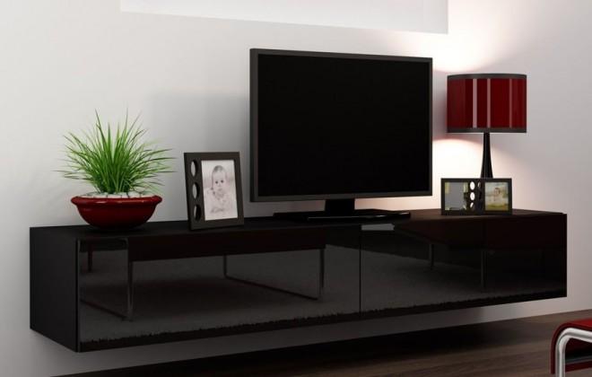 TV, Hifi stolek  - dřevěný Vigo (korpus černá/ fronty černá VL)