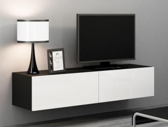 TV, Hifi stolek  - dřevěný Vigo - TV komoda 140 (černá mat/bílá VL)