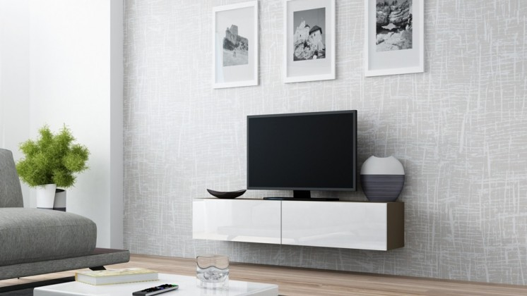 TV, Hifi stolek  - dřevěný Vigo - TV komoda 140 (latte/bílá lesk)