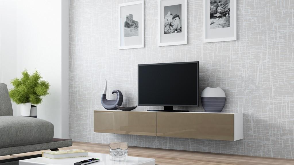 TV, Hifi stolek  - dřevěný Vigo - TV komoda 180 (bílá/latte lesk)