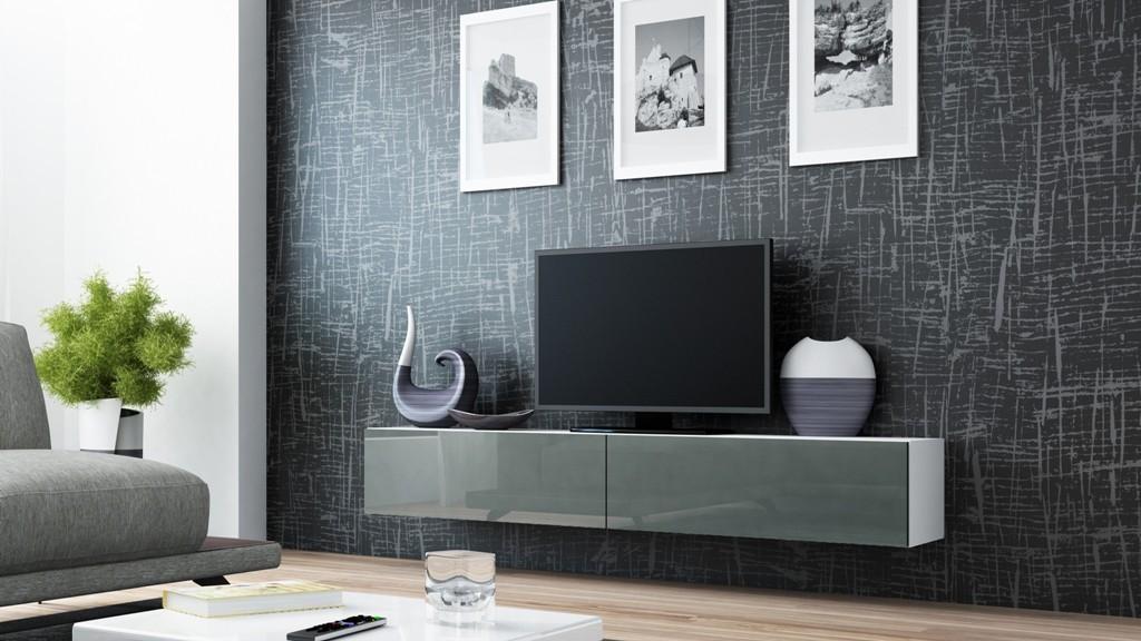 TV, Hifi stolek  - dřevěný Vigo - TV komoda 180 (bílá/šedá lesk)