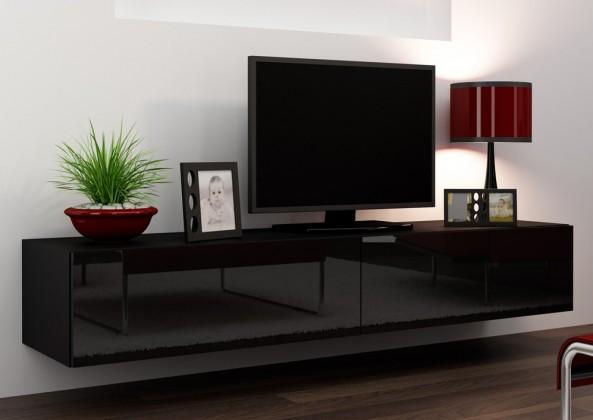 TV, Hifi stolek  - dřevěný Vigo - TV komoda 180 (černá mat/černá VL)