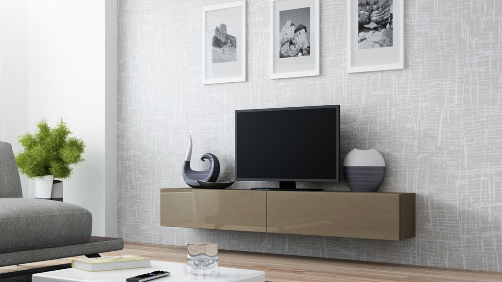 TV, Hifi stolek  - dřevěný Vigo - TV komoda 180 (latte/latte lesk)