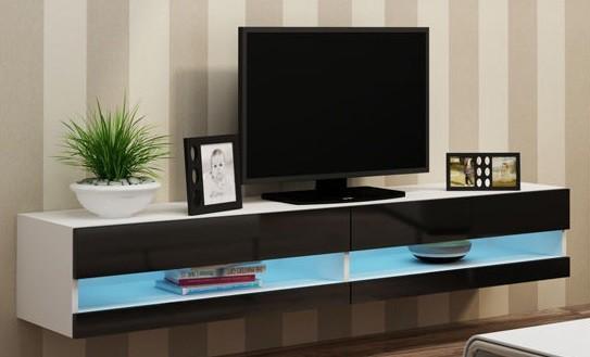 TV, Hifi stolek  - dřevěný Vigo - TV komoda 180 otevřená (bílá mat/černá VL)
