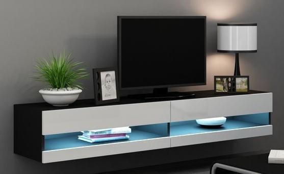 TV, Hifi stolek  - dřevěný Vigo - TV komoda 180 otevřená (černá mat/bílá VL)