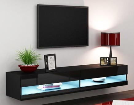 TV, Hifi stolek  - dřevěný Vigo - TV komoda 180 otevřená (černá mat/černá VL)