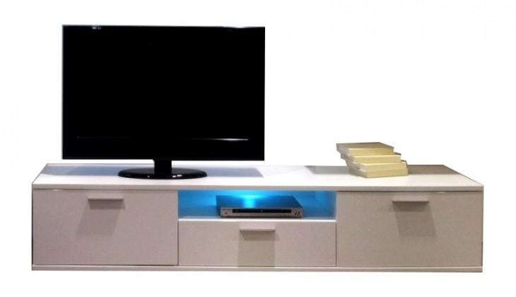 TV, Hifi stolek  - dřevěný West 31 (Bílá arctic / bílá arctic vysoký lesk, grafit mat)