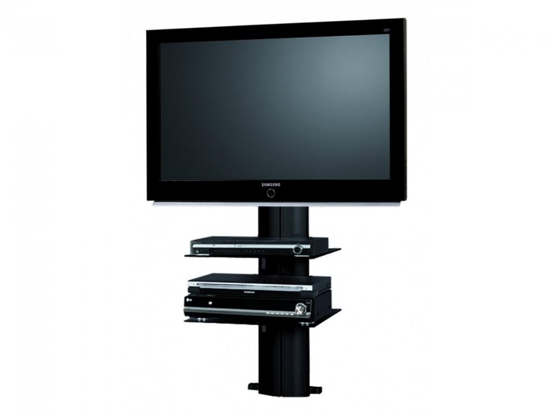 TV, Hifi stolek - skleněný Orion 1 - TV stolek s držákem (černá/černé sklo)