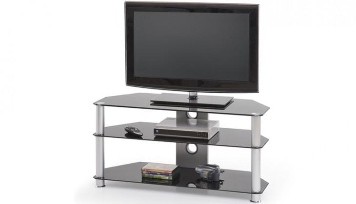TV, Hifi stolek - skleněný RTV-3 (Alu/Sklo černé)
